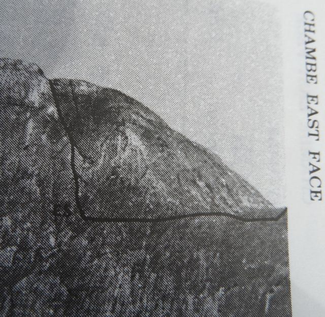 From Frank Eastwood's 'Guide to the Mulanje Massif' you can see Easy Street marked. On the English scale it is categorised as somewhere between 'Very Difficult' and 'Severe'. On the Chambe scale it is categorised as short and easy.