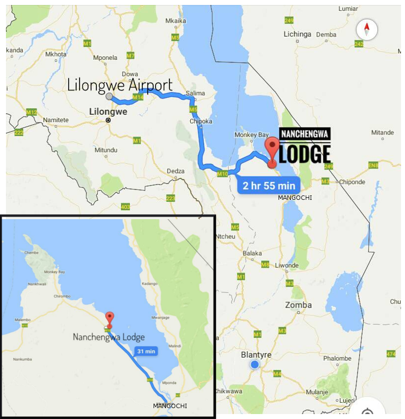 directions nanchengwa lodge map malawi